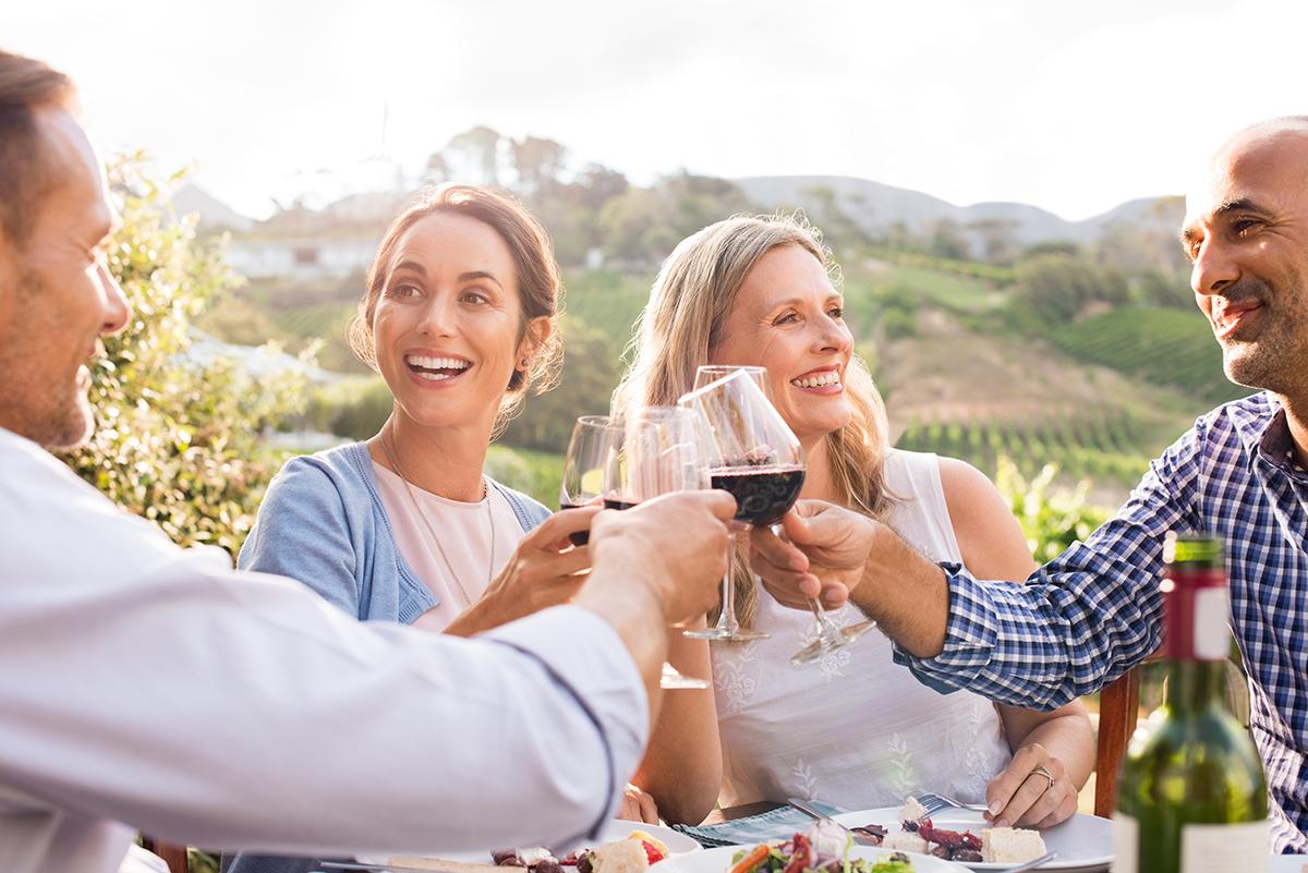 trambusti people enjoying wine